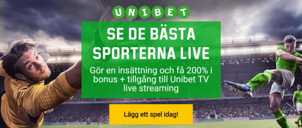 Kolla live sport och betta hos Unibet.